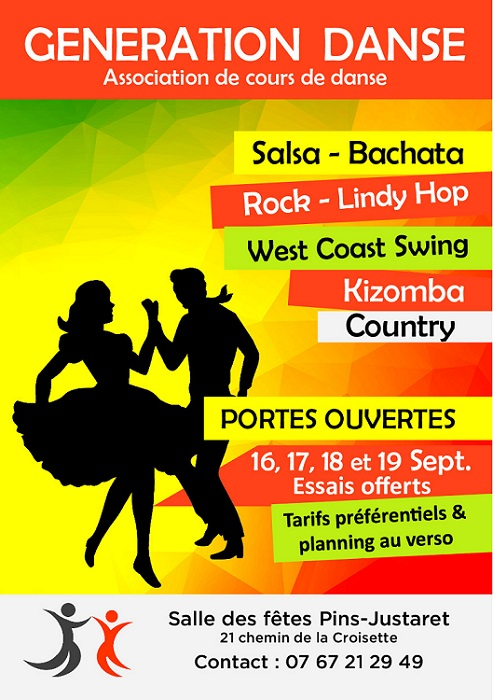 Flyer rentree generation danse-salsa bachata kizomba-rock lindy hop west coast swing country