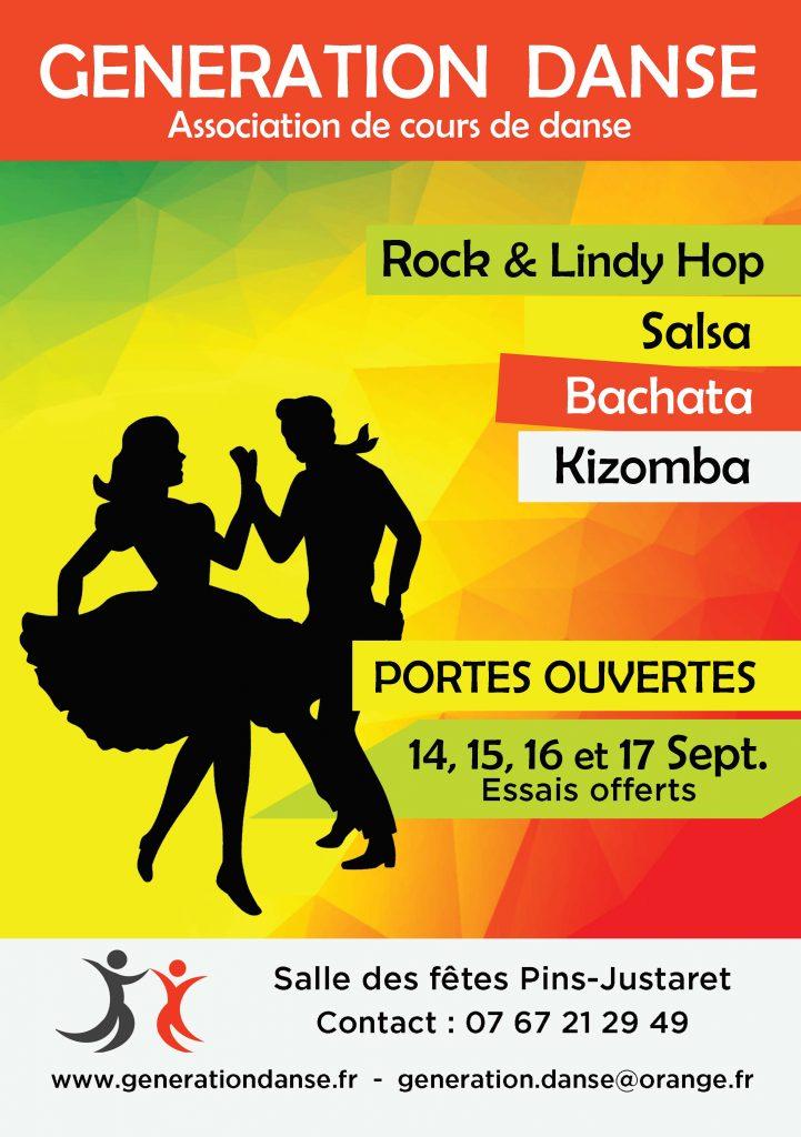 Flyer danse association generation danse cours de danse a deux a pins justaret a cote de Toulouse